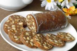 Шоколадная колбаса из печенья - десерты