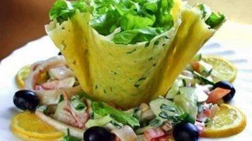 Сырные корзинки - салаты